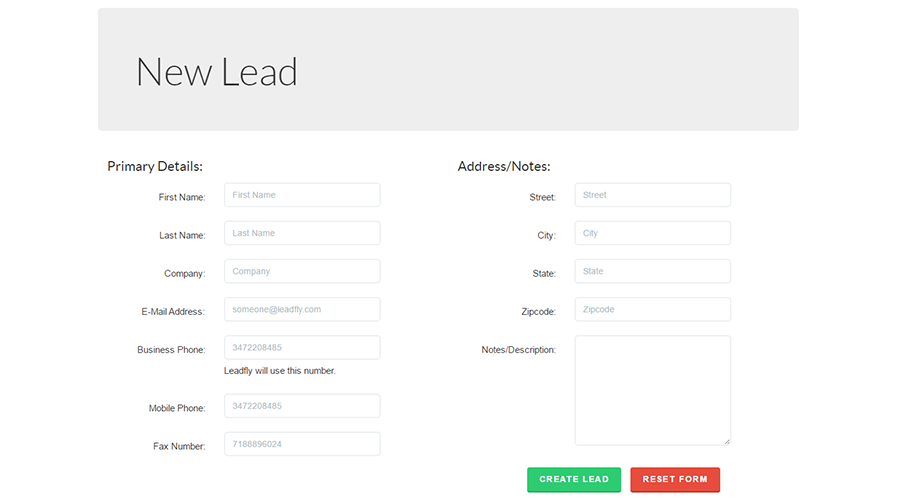 Creating a new lead takes seconds with the lead quick create form.